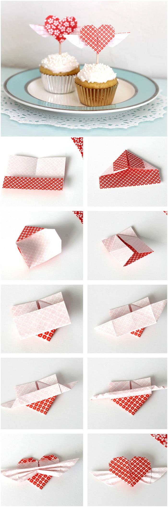 un bricolage origami facile pour la saint-valentin, comment faire des cake toppers en forme de coeurs origami