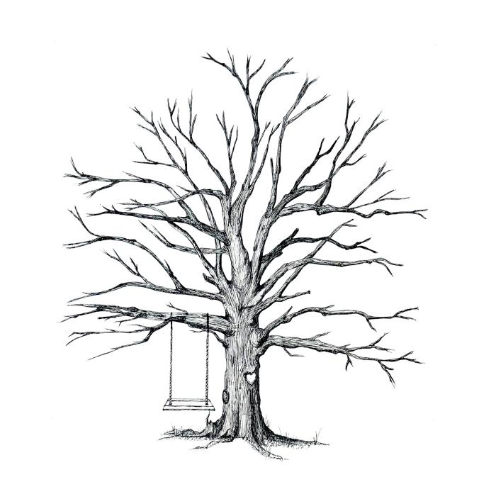 balançoire installée sur les branches d'un arbre vierge à design empreintes des invités d'un mariage