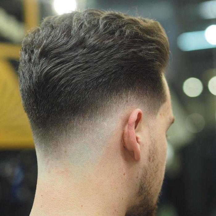 exemple de dégradé américain bas, coiffure pour homme en fondu progressif