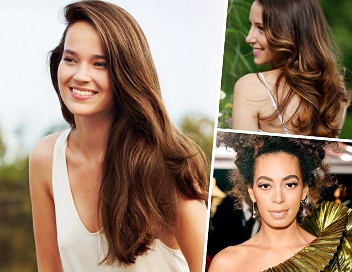 coloration cheveux tendance naturelle de nuance châtain clair ou foncé aux reflets miel et dorés, maquillage nude avec lèvres pêche et mascara noir