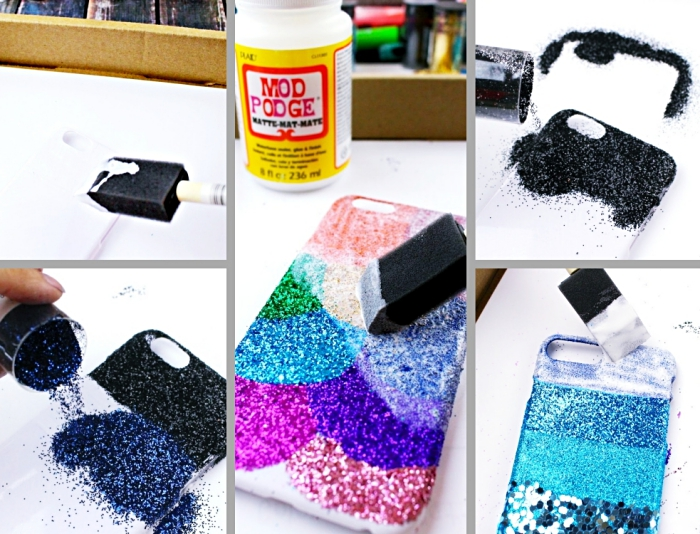 étapes à suivre pour faire une coque personnalisée à design glitter, comment décorer un portable en plusieurs couleurs glitter