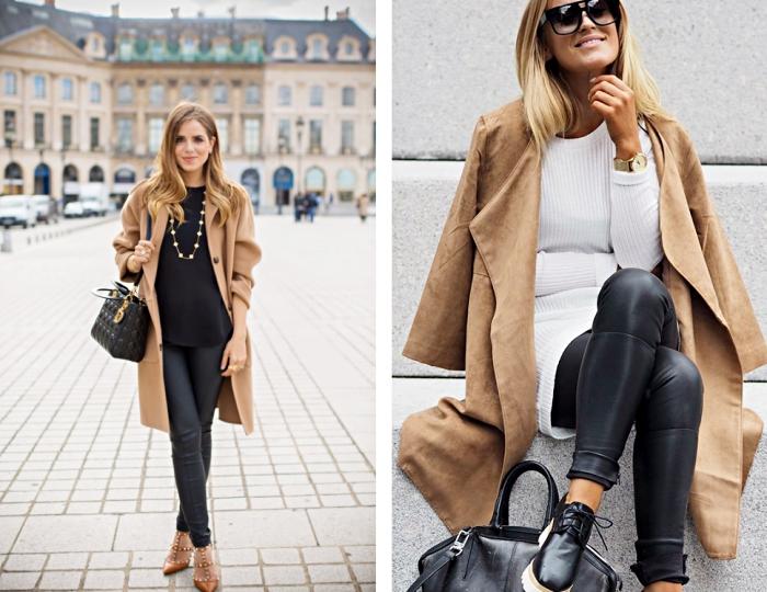 sandales camel avec clous et lacets à porter avec un pantalon cuir noir et un manteau long camel, s'habiller en blanc et noir avec accessoires noirs