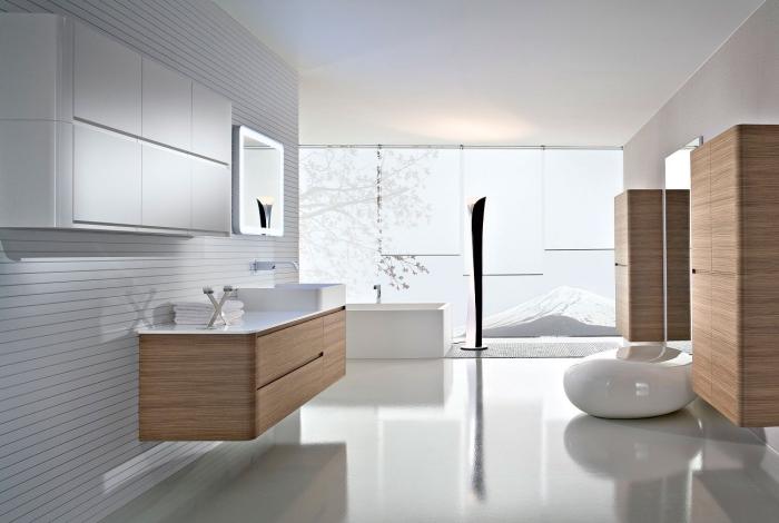 exemple de salle de bain moderne en blanc et bois avec meubles sans poignées à esprit minimaliste, armoire salle de bain de bois clair