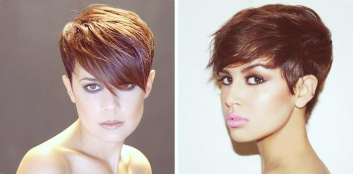 maquillage foncé pour yeux marron avec crayon noir et rouge à lèvres marron, coupe dégradée femme avec mèches