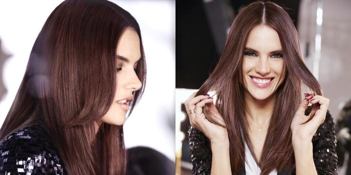 look élégant en robe blanche et blazer pailleté, cheveux acajou pour yeux marron, coupe cheveux longs avec frange longue