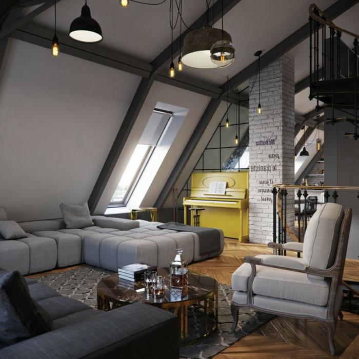 lampes suspendues style industriel, sofa modulable, fauteuil gris, piano jaune