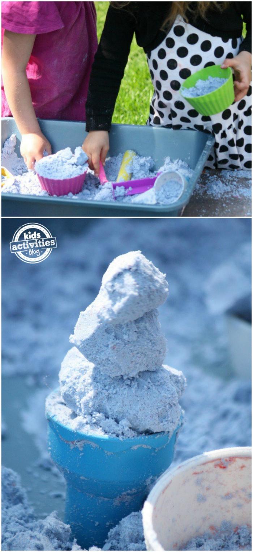 idées d'activités de modelage ludiques de dehors avec du sable à modeler fait maison