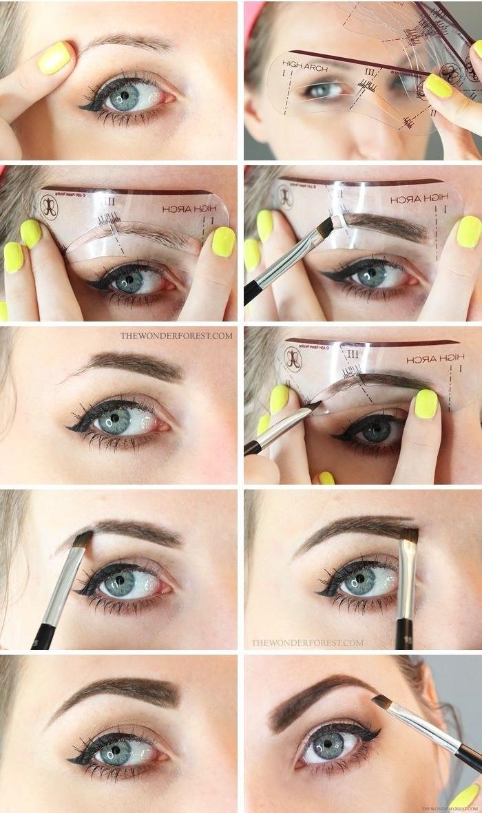 maquillage sourcils pour débutants à l'aide des pochoirs à sourcils, astuces maquillage pour des sourcils symétriques