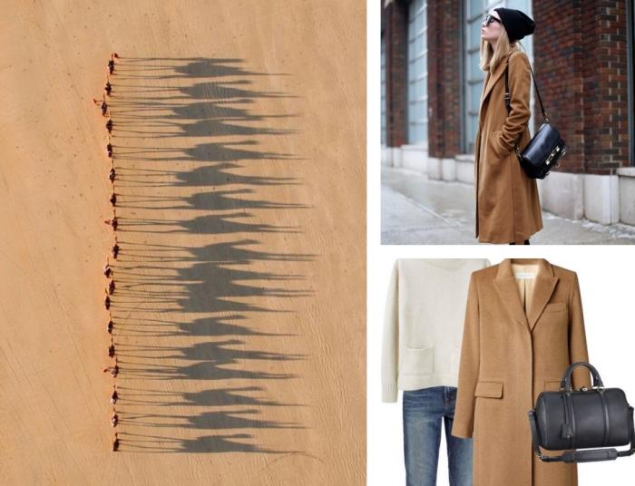 que mettre avec une veste camel femme, style urban avec jeans et bonnet noir combiné avec un manteau long beige foncé