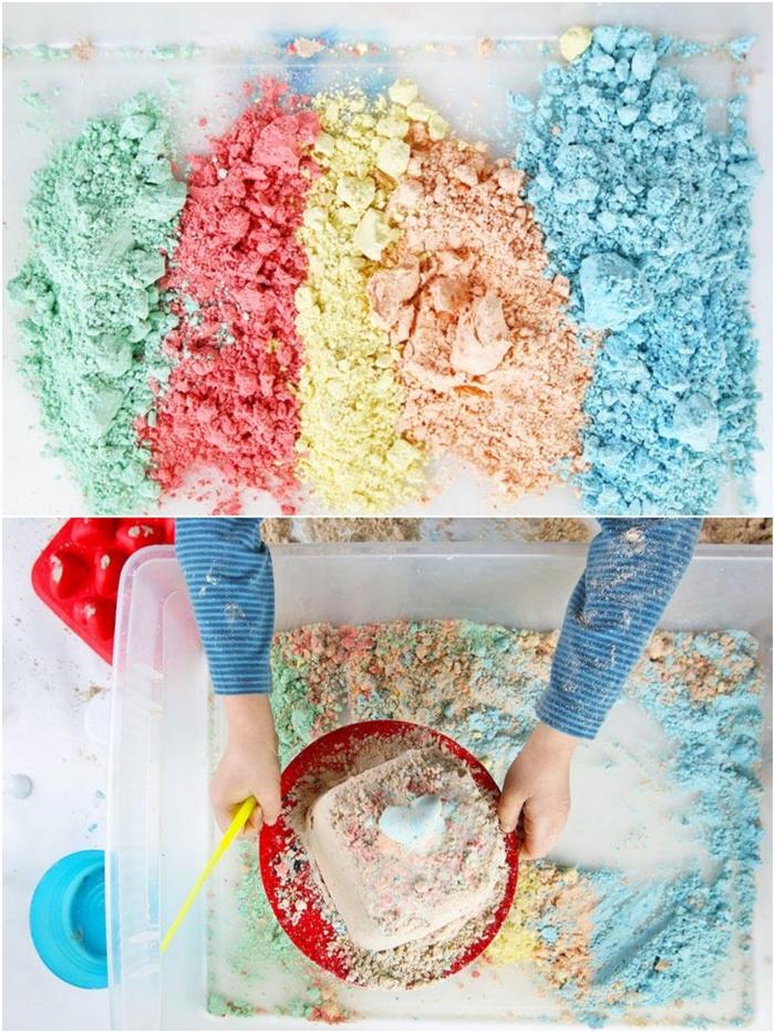 recette de sable cinétique de cinq couleurs préparé avec des ingrédients peu coûteux qui sont inoffensifs pour la santé de l enfant