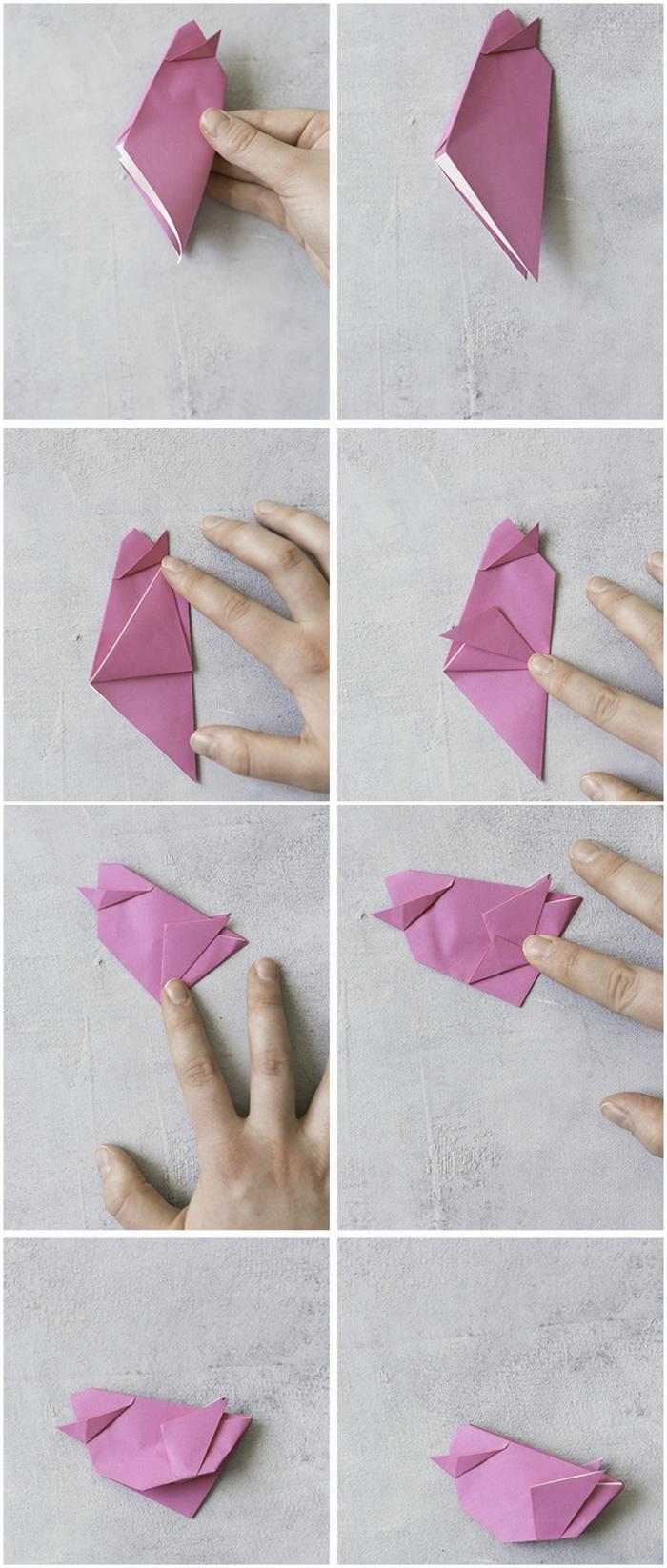 tuto origami pour réaliser un joli oiseau en papier qui pourrait être utiliser pour la déco de la table de pâques