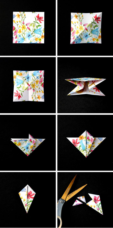 comment faire des origami ornements de noël façon gemmes précieuses aux motifs colorés