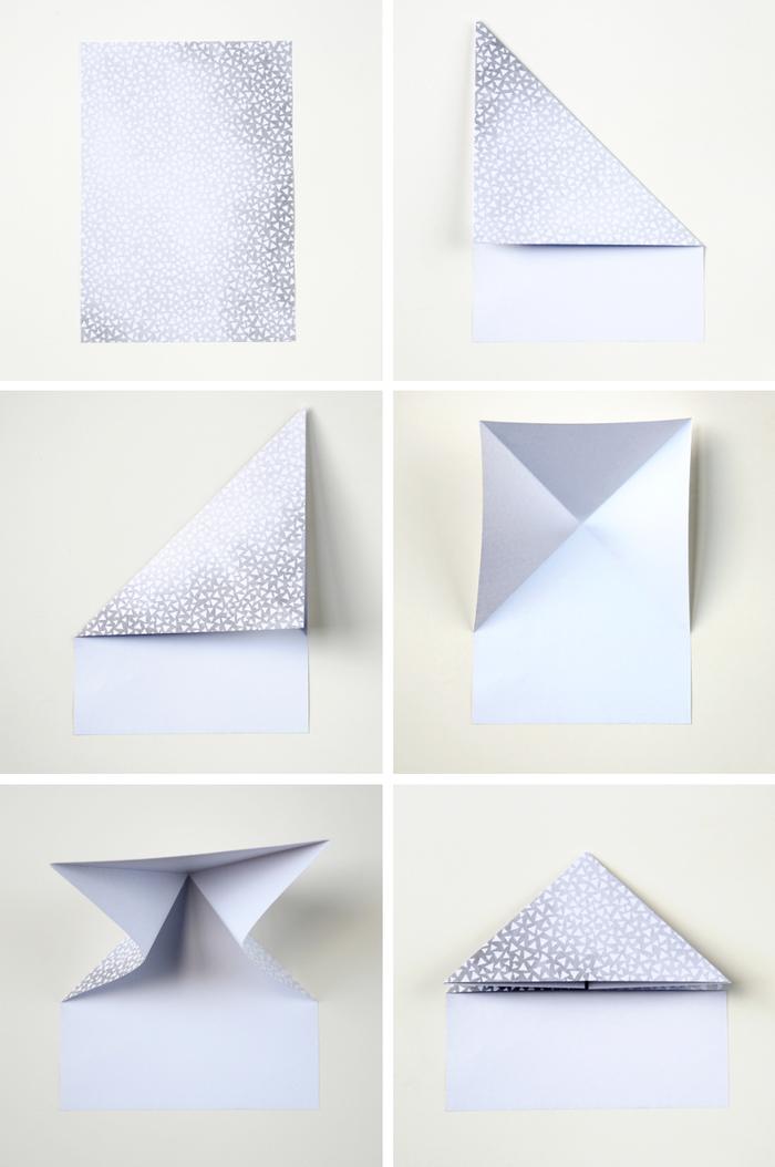 les étapes de pliage papier pour réaliser de jolies mini-boîtes en papier imprimé et forme de coeurs origami
