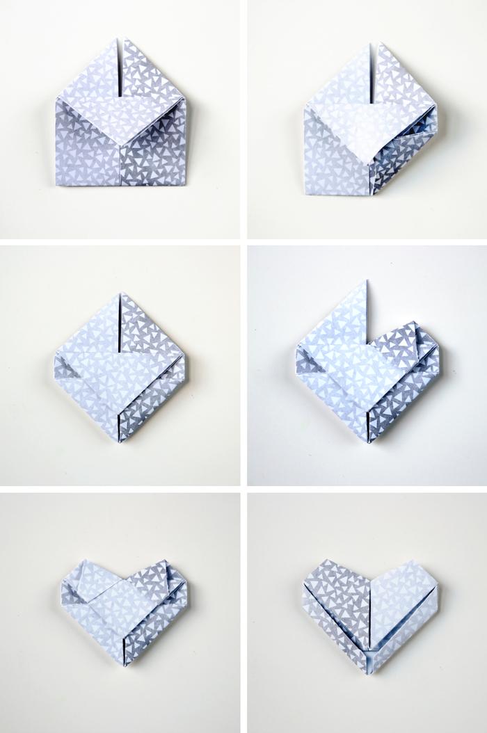 un bricolage de saint-valentin à base des technique de pliage papier origami, de jolies mini-boîtes en papier imprimé et forme de coeurs origami