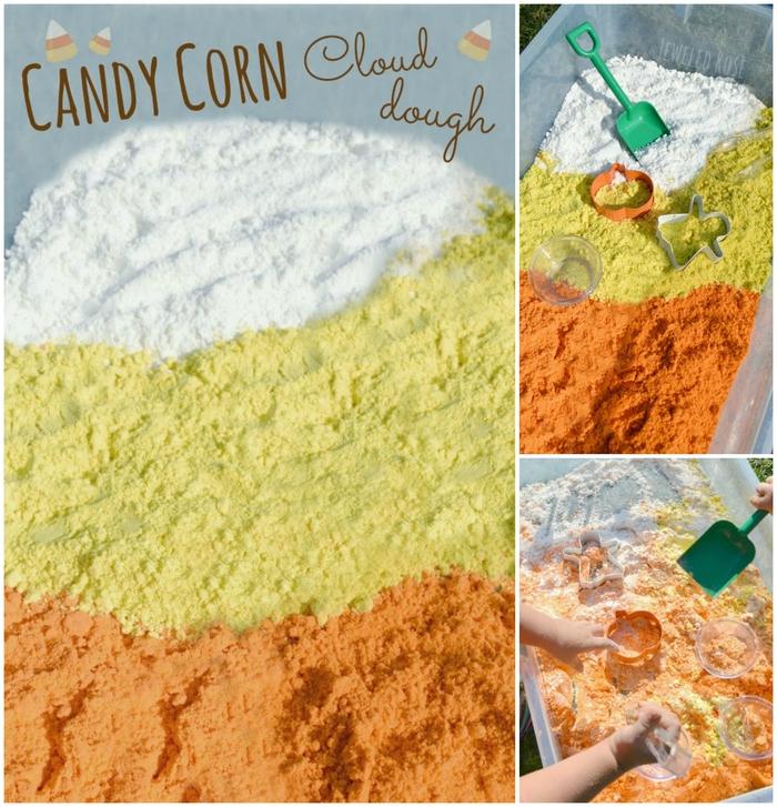 recette facile pour faire un sable kinetic façon bonbon de mais, activités ludiques et créatives avec un bac sensoriel inspiration montessori