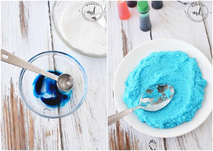 recette de sable kinetic appelé aussi sable lunaire, coloré aux nuances de l arc-en-ciel