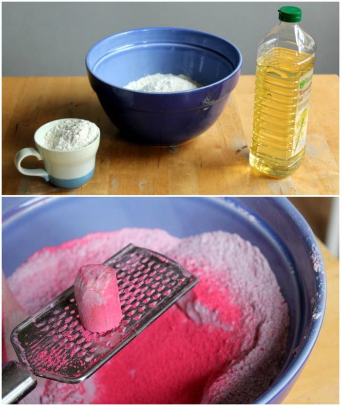recette de sable à modeler coloré à la craie de trottoir et à base d'ingrédients simples peu coûteux