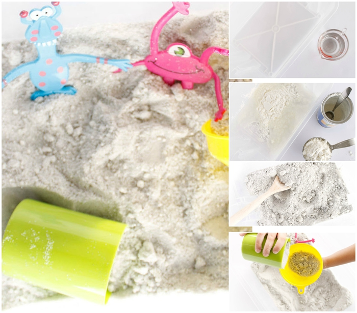 idées d'activités avec un bac sensoriel plein de sable à modeler fait maison qui est inoffensif pour la santé de l'enfant