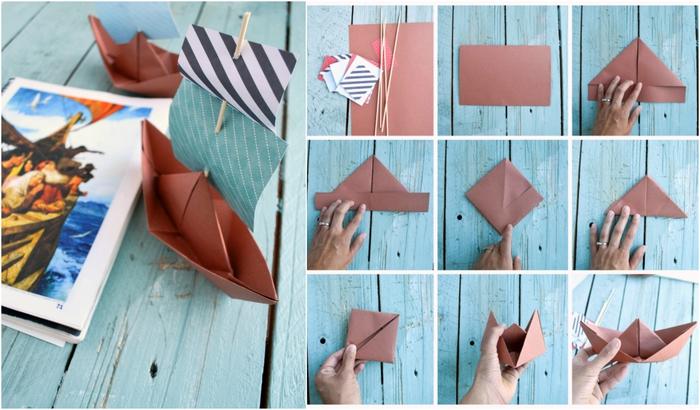 un simple modele origami de bateau à voile en papier pour apprendre la géométrie en jouant