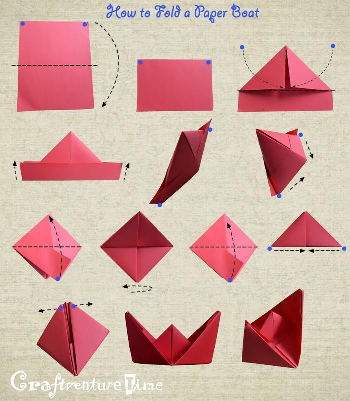 tuto pliage papier facile pour réaliser un simple bateau, pliage origami pour débitants