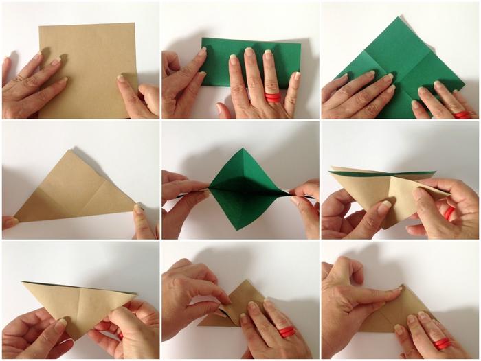 comment faire des origami à suspendre à un mobile déco original, modèle original de lapin origami réalisé en papier bicolore