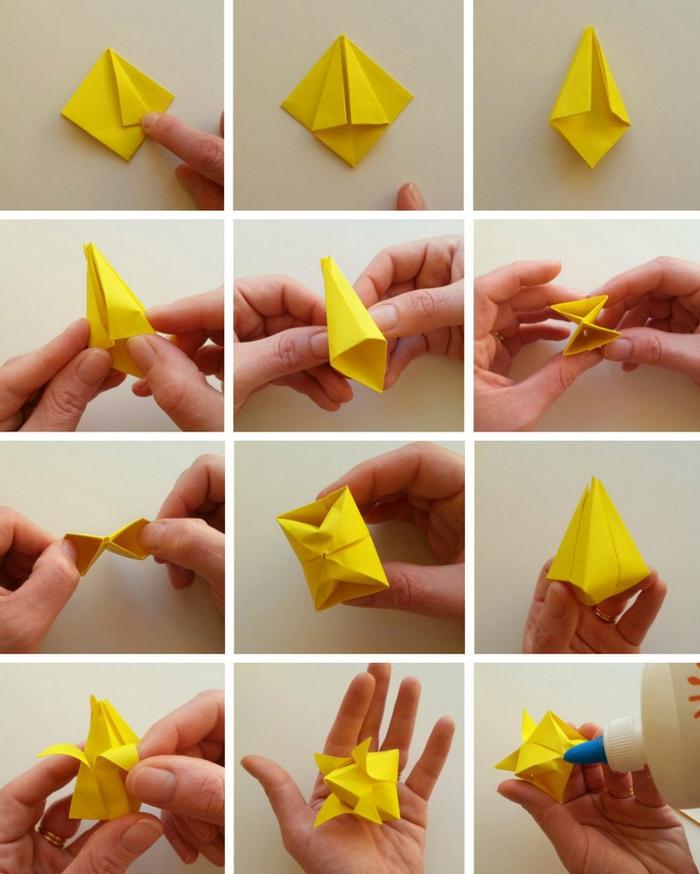 comment faire une fleur en papier, idée déco originale avec des fleurs en origami