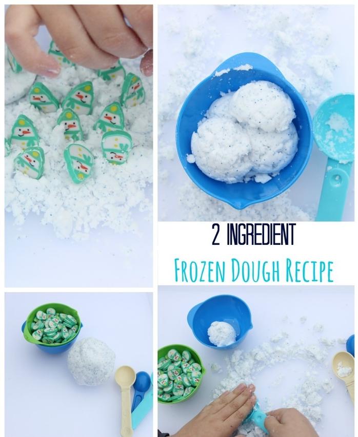 recette de pâte à modeler façon neige pour une activité sensorielle ludique sur le thème la reine des neiges