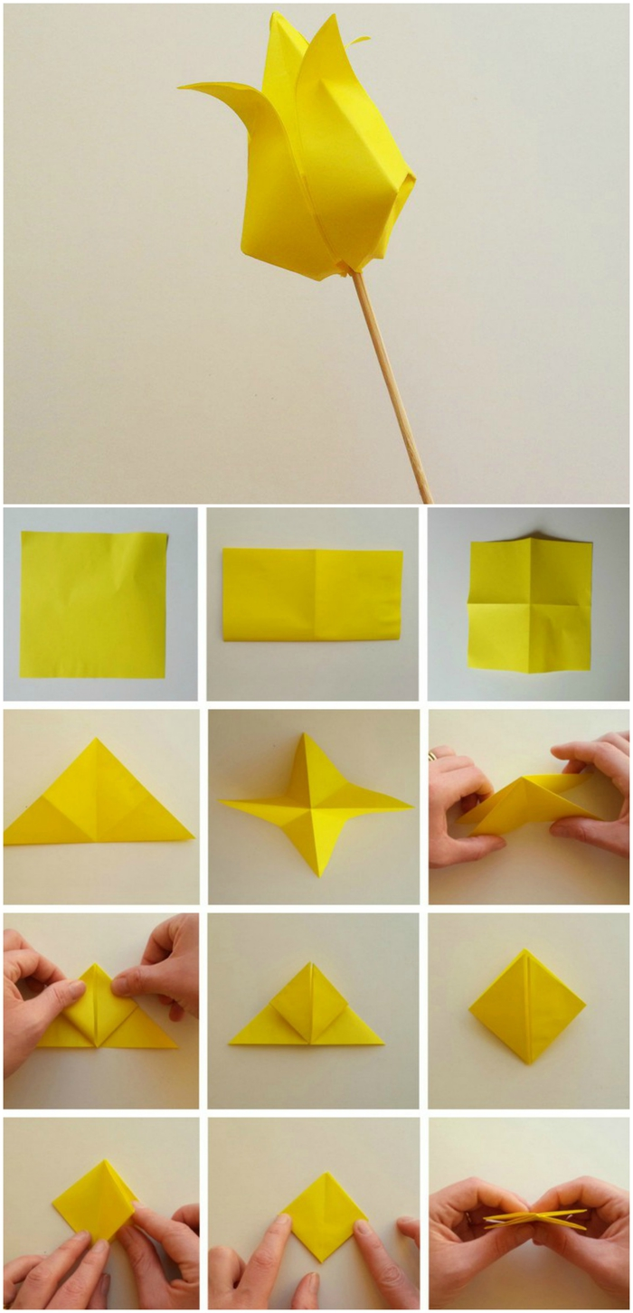 le pliage papier facile d'un modèle de tulipe en origami, idée déco fleurie et féerique en origami