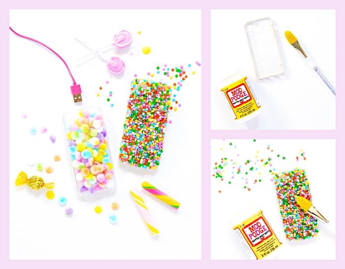 pas à suivre pour faire une coque de telephone personnalisé avec petites figurines décoratives à design sucre coloré