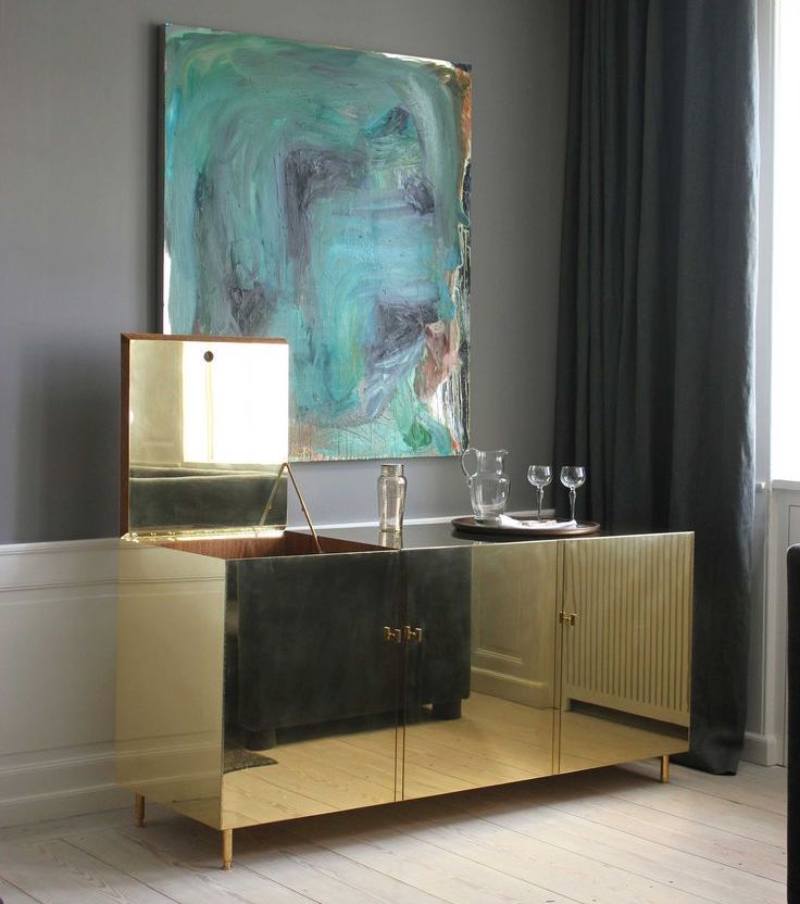 mobilier de luxe en or, commode dorée design, meuble couvert d'or