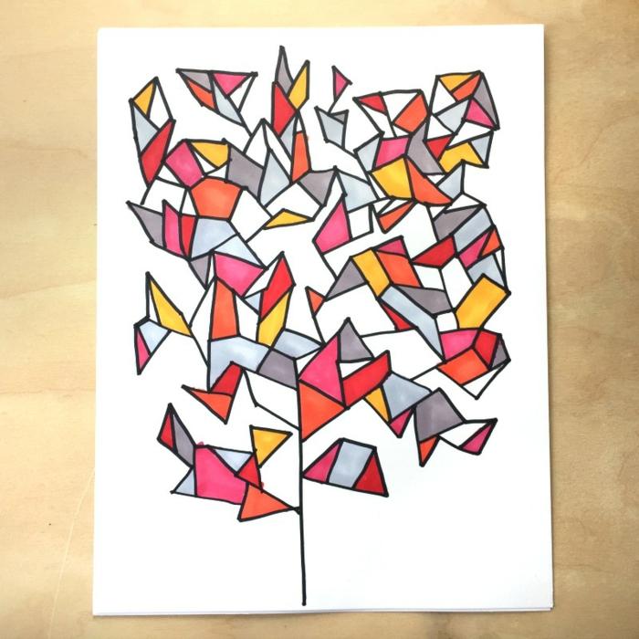 Magnifique dessin forme géométrique beau dessin pas a pas dessin coloré géométrique triangles