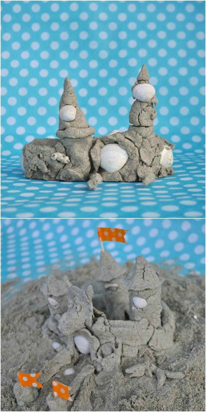un château de sable construit avec du sable cinétique fait maison, activité manuelle tactile pour proposer une expérience sensorielle inoubliable aux enfants