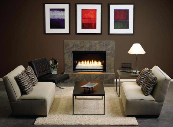 peinture marron pour salon, trio de cadres abstraits pour décoration d'intérieur