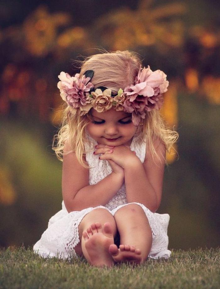 Vintage robe fille d honneur robe princesse fille mariage couronne de fleurs