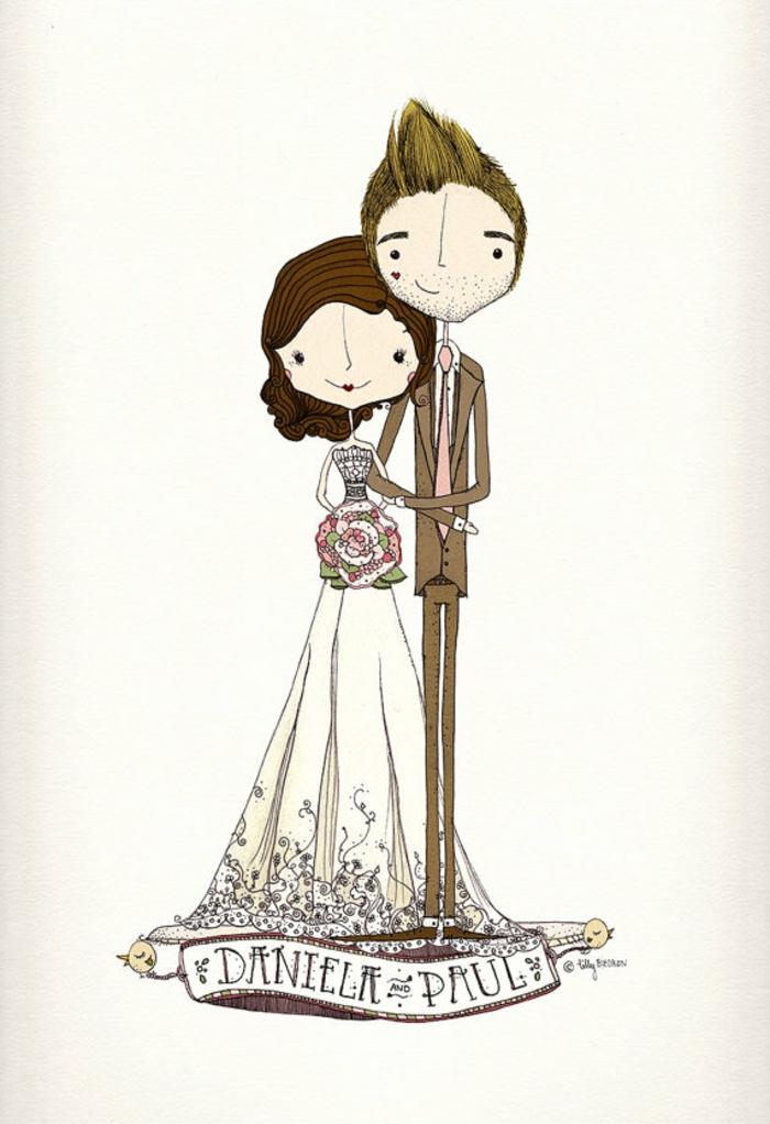 Coloriage de mariage a imprimer gratuit illustration belle couple femme robe de mariée bohème chic