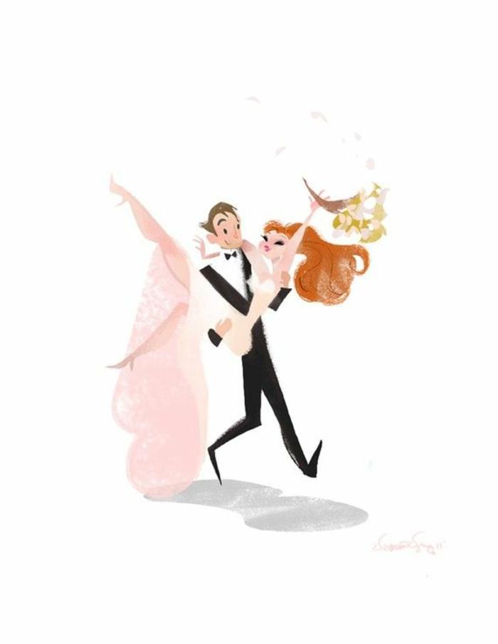 Mariage dessin animé image à imprimer gratuit image couple qui s'est mariée dessin