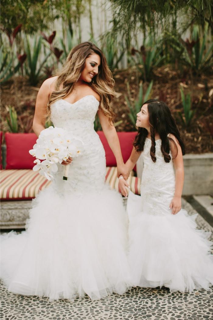 Les robes de cérémonie enfant robe de soirée fille robe petite fille d honneur blanche robe longue mariée