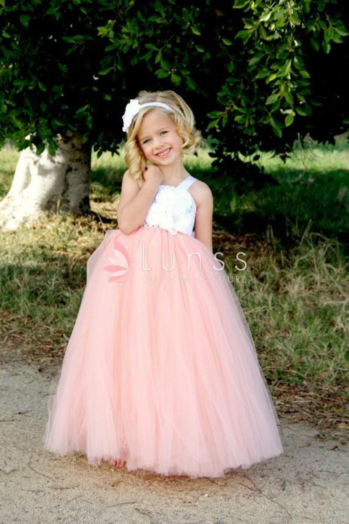 Magnifique robe demoiselle d honneur enfant robe petite fille d honneu longue jupe peche