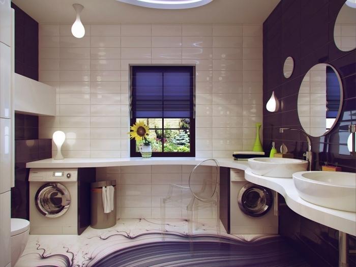 déco en ultra violet et carrelage beige pour une salle de bain moderne aux meubles blancs, fenêtre de plafond ronde