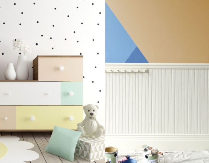 comment peindre la chambre bebe pastel, objets décoratifs de couleurs vert et jaune pastel dans une chambre aux murs blancs et plancher de bois clair