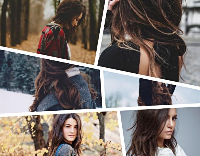 couleur de cheveux brun aux reflets cuivrés, coiffure célébrité de Nina Dobrev avec coupe mi-long en couche et frange longue de côté