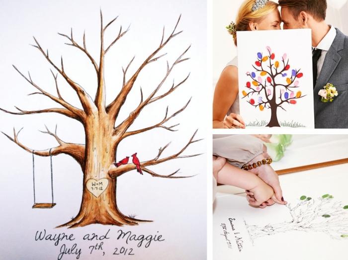 souvenir des invités du mariage avec un dessin d'arbre aux empreintes colorées, couple nouveaux mariés avec femme aux cheveux blonds attachés et homme habillé en costume gris