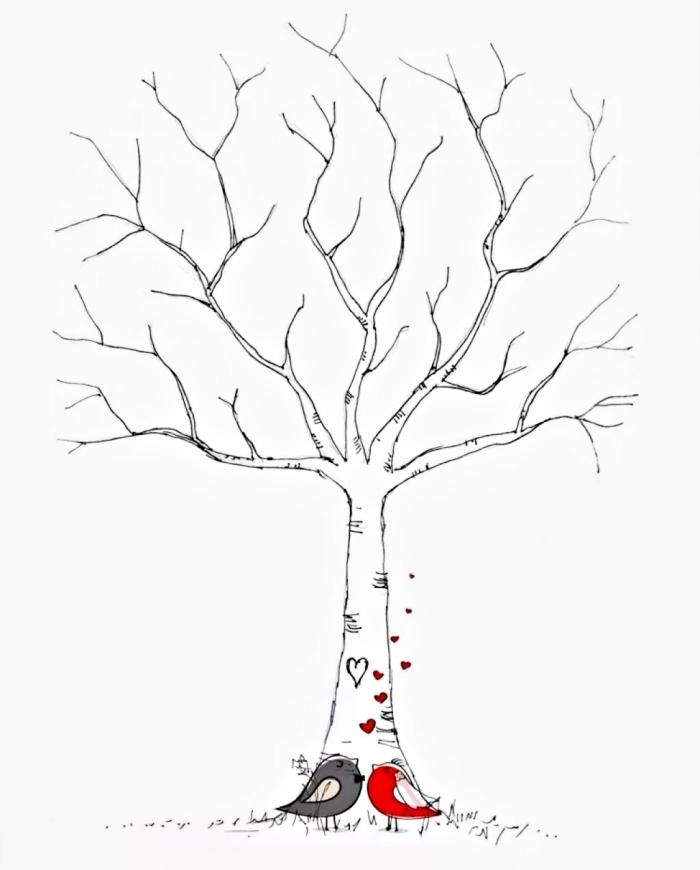 oiseaux gris et rouge amoureux devant un arbre sans feuillage, dessin facile à faire pour un projet créatif à thème mariage
