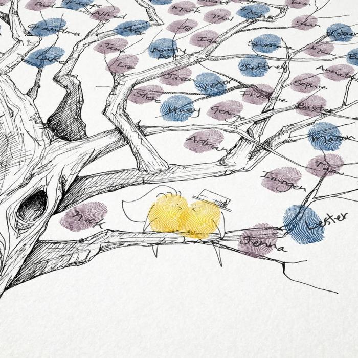 empreintes en couleurs bleu et violet pastel sur un dessin arbre vierge en blanc et noir avec couples oiseaux jaunes