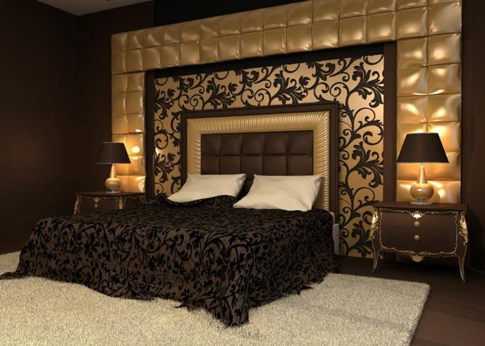 déco murale motifs végétaux, tete de lit marron et beige, panneau mural capitonné, couverture de lit motifs végétaux