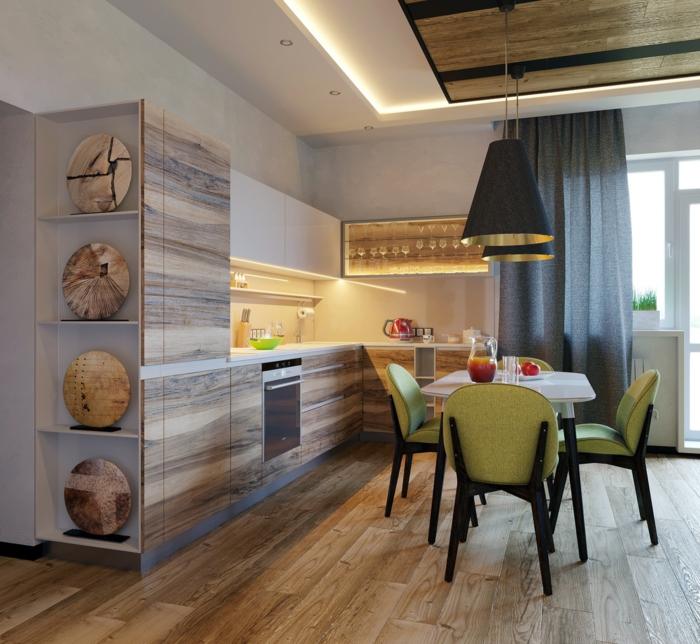 renover sa cuisine, chaises en tissu réséda et bois noir, corps luminaires en couleur noir et or en style industriel, sol revêtu de parquet en marron et jaune
