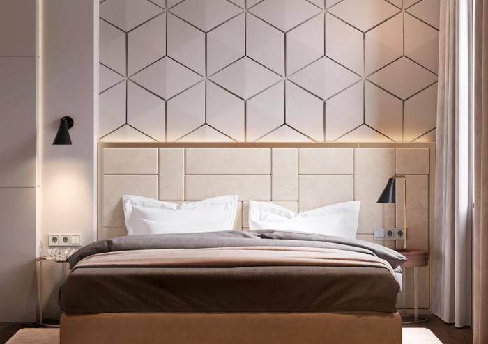 deco murale relief, petite chambre adulte, mur blanc, lampes noires