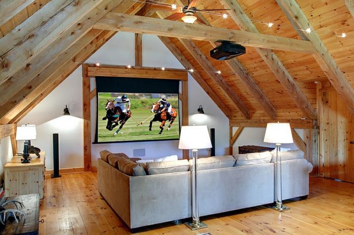 salle de séjour en bois, canapé gris, tv murale, poutres en bois, petite commode en bois clair
