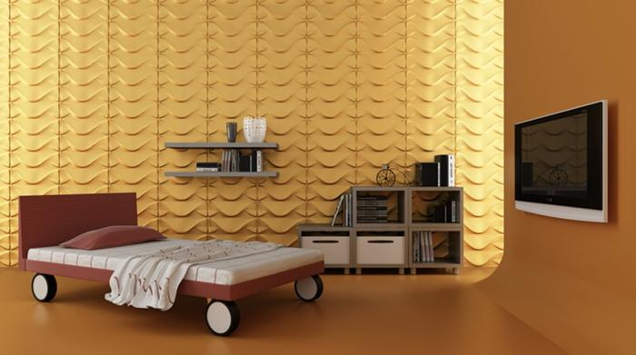 tv montée murale, lit sur des roues, panneaux muraux avec reief, étagère en cubes