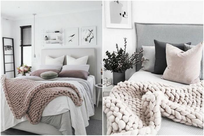 couleurs pastels et tissus moelleux, jeté de lit rose, coussins simples et déco cosy
